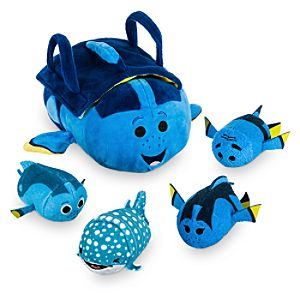 Finding Dory ''Tsum Tsum'' Plush Set - Small Tote - 9'' 1/2 - Plus 4 Minis - 3 1/2''