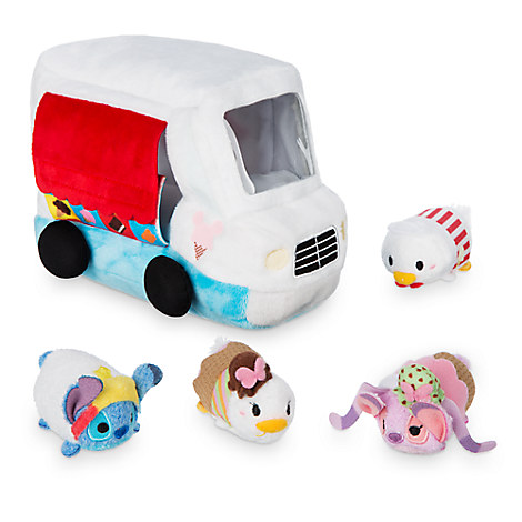 Donald Duck Ice Cream ''Tsum Tsum'' Plush Set - Truck - 5'' - Plus 4 Micros - 2 1/2''