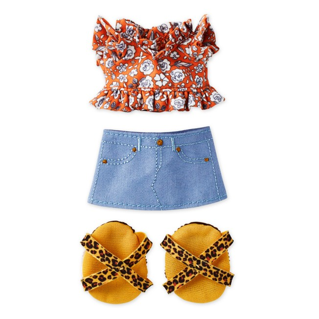 Disney nuiMOs Outfit – Ruffled Shirt with Mini Skirt and Leopard Print Sandals