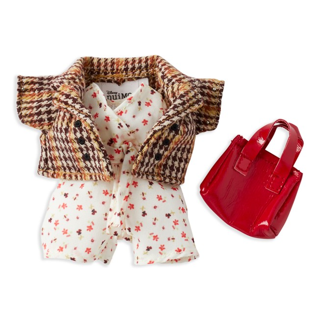 Disney nuiMOs Outfit – Floral Jumpsuit and Plaid Blazer with Red Purse