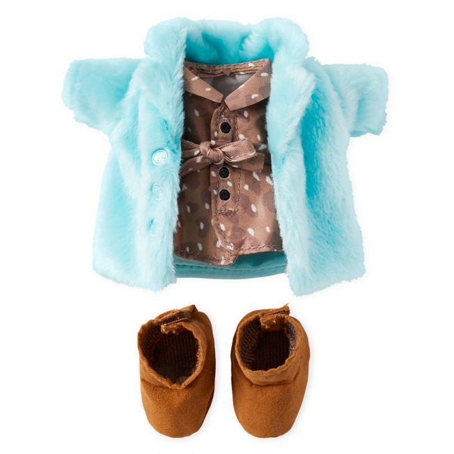 Disney nuiMOs Outfit – Print Dress and Blue Faux Fur Coat
