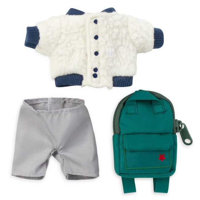 Disney nuiMOs Outfit – Sherpa Jacket and Gray Pants with Green Backpack