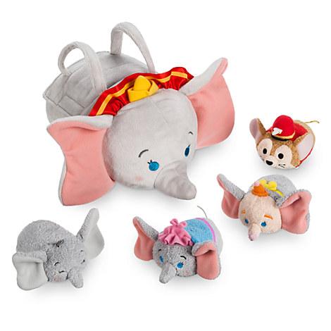 Dumbo ''Tsum Tsum'' Plush Set - Small Tote - 9'' 1/2 - Plus 4 Minis - 3 1/2''
