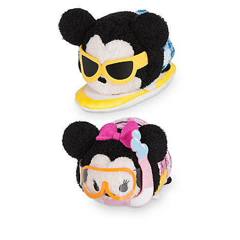 Mickey and Minnie Mouse ''Tsum Tsum'' Plush Hawaii Set - Mini 3 1/2''