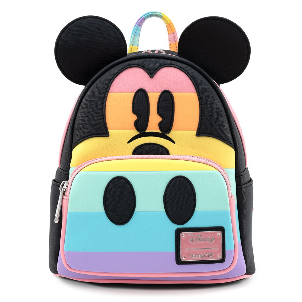 Mickey Mouse Pastel Stripe Mini Backpack by Loungefly