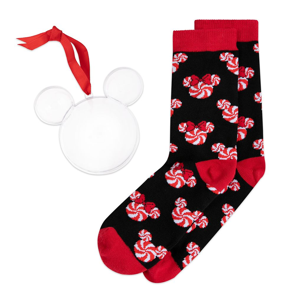 Mickey and Minnie Mouse Peppermint Twist Holiday Socks in Ornament for Adults
