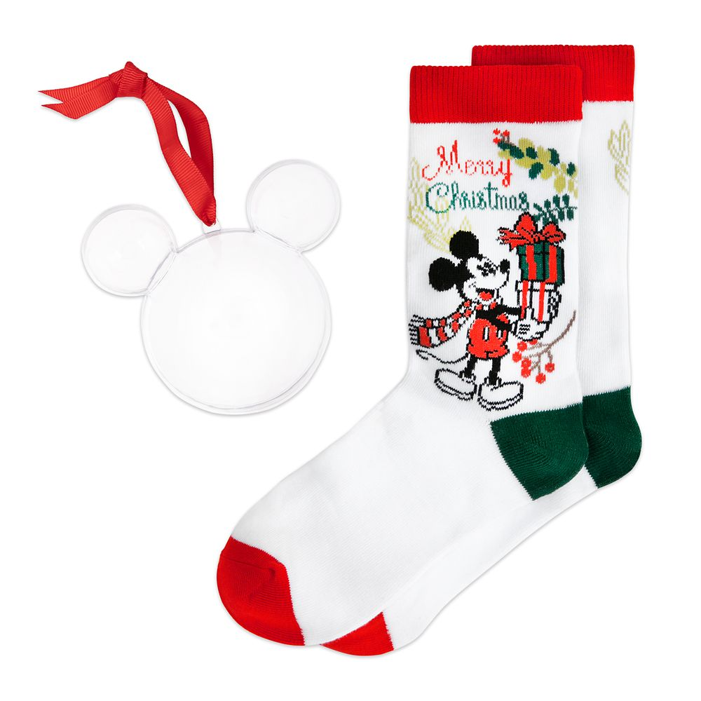 Mickey Mouse ''Merry Christmas'' Holiday Socks in Ornament for Adults
