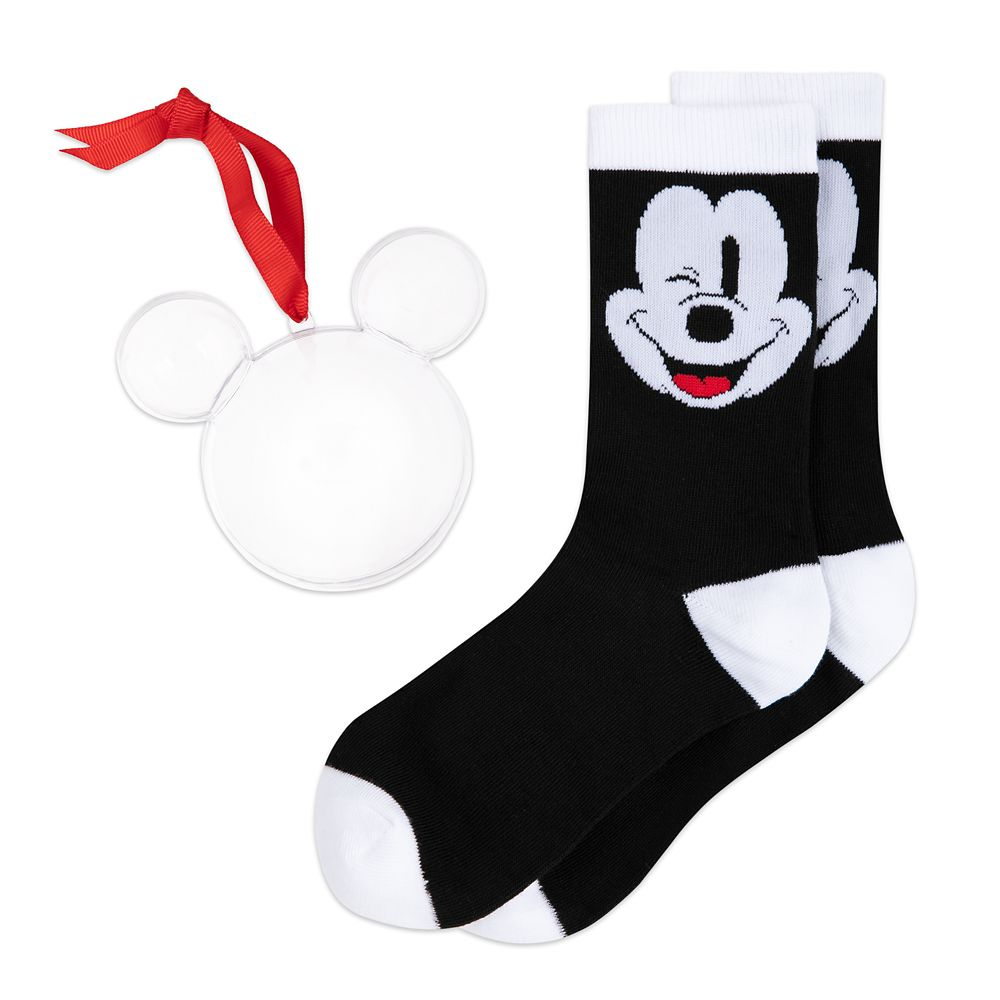 Mickey Mouse Winking Holiday Socks in Ornament for Adults