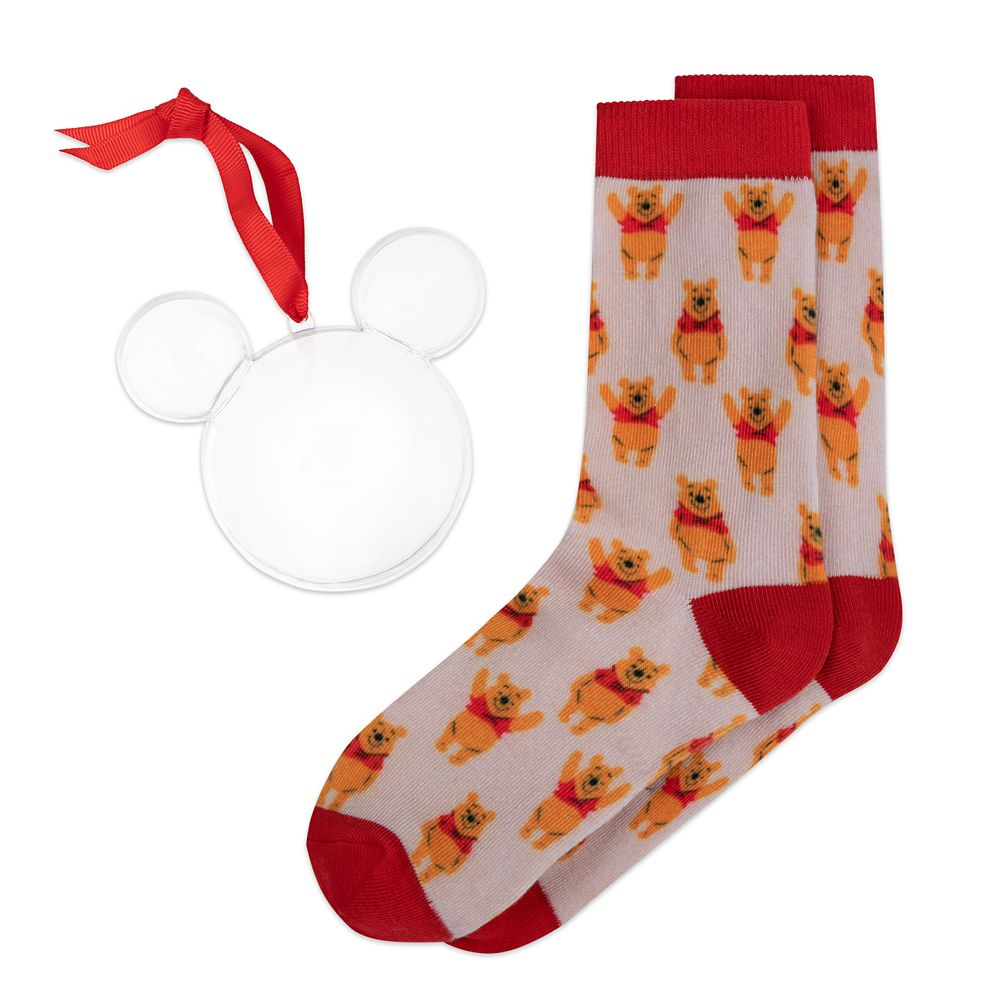 Winnie the Pooh Holiday Socks in Ornament for Adults