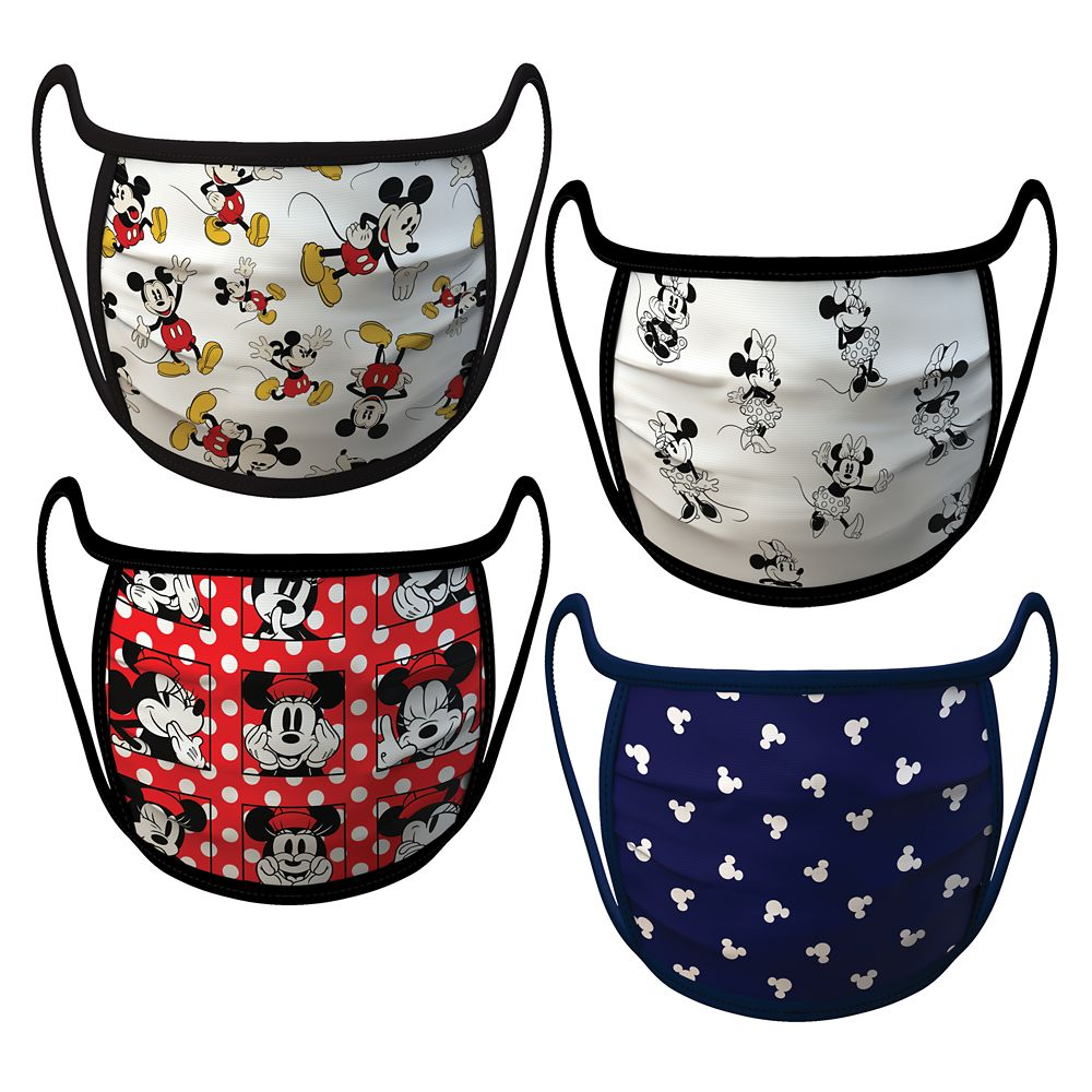 Adult Extra Large – Mickey and Minnie Mouse Cloth Face Masks 4-Pack Set