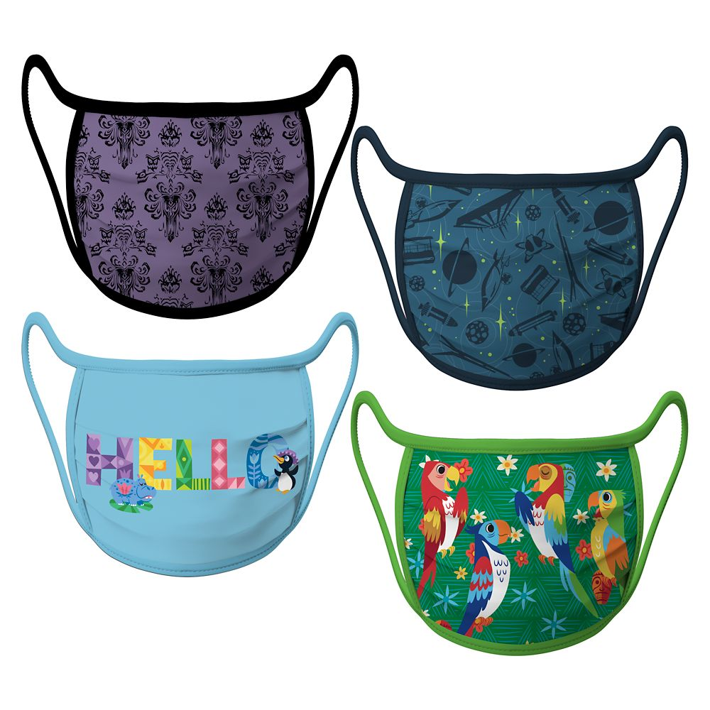 Disney Parks Attractions Cloth Face Masks 4-Pack Set