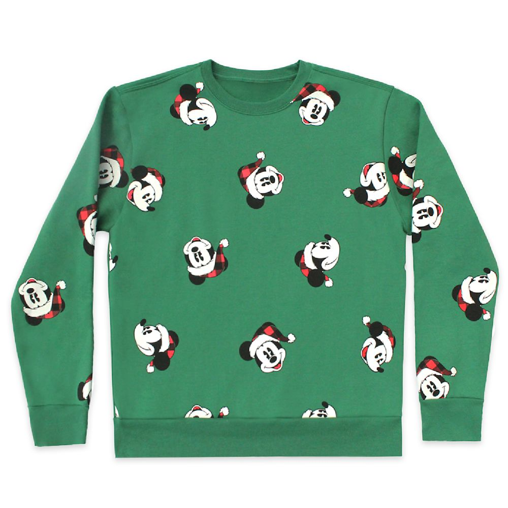 Santa Mickey Mouse Pullover Sweatshirt for Adults