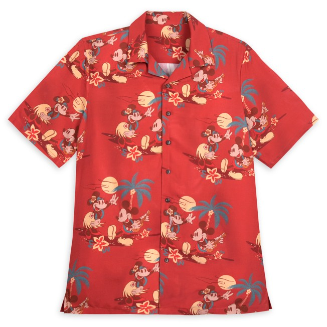 Mickey and Minnie Mouse Tropical Woven Shirt for Adults
