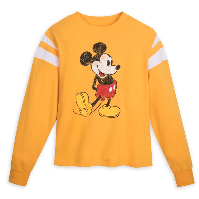 Mickey Mouse Semi-Cropped Pullover Top for Adults – Yellow