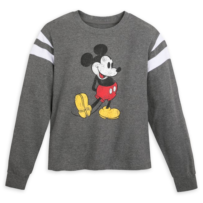Mickey Mouse Semi-Cropped Pullover Top for Adults – Gray