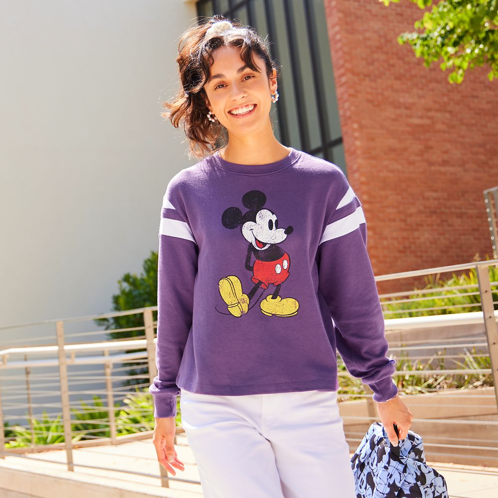 Mickey Mouse Semi-Cropped Pullover Top for Adults – Purple