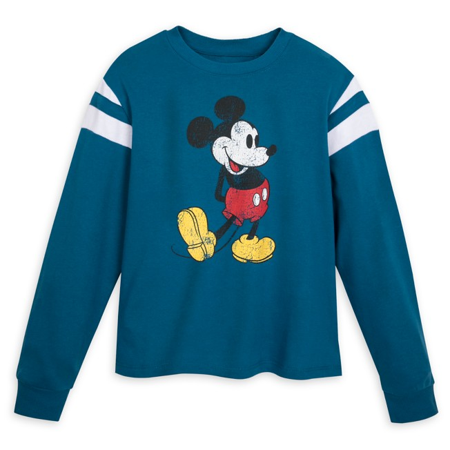 Mickey Mouse Semi-Cropped Pullover Top for Adults – Blue