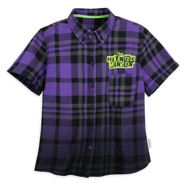 Hitchhiking Ghosts Woven Plaid Shirt for Women by Her Universe – The Haunted Mansion
