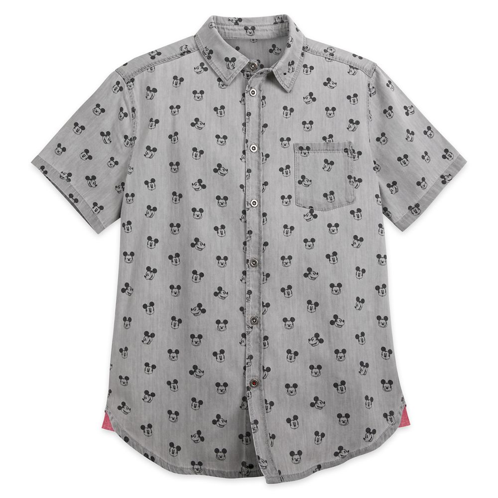 Mickey Mouse Grayscale Woven Shirt for Men