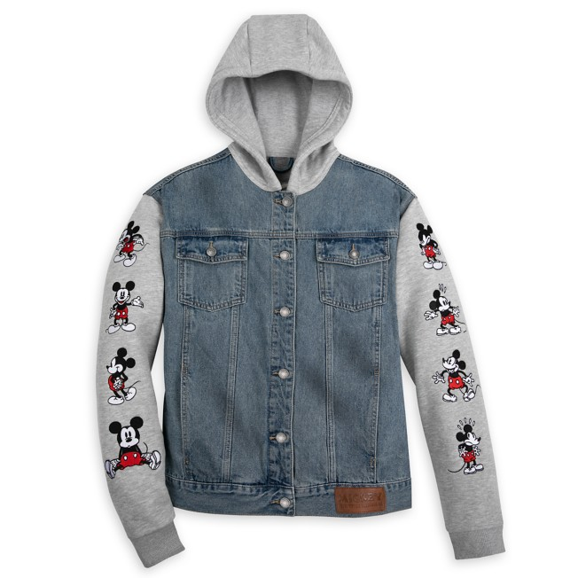 Mickey Mouse Hooded Denim Jacket for Adults