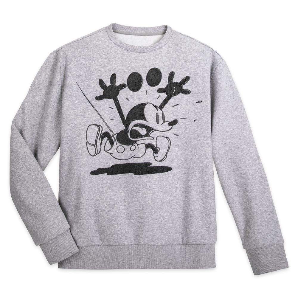 Mickey Mouse Grayscale Fleece Pullover for Adults