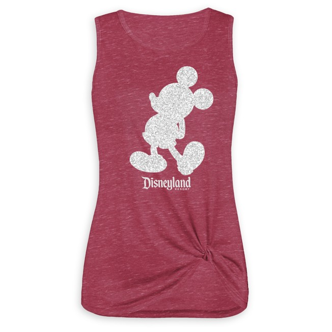 Mickey Mouse Glitter Tank Top for Women – Disneyland – Red