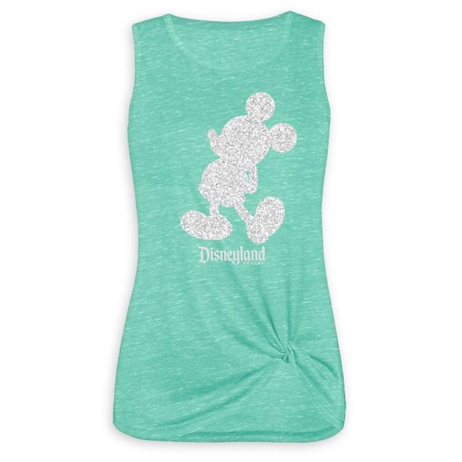 Mickey Mouse Glitter Tank Top for Women – Disneyland – Green
