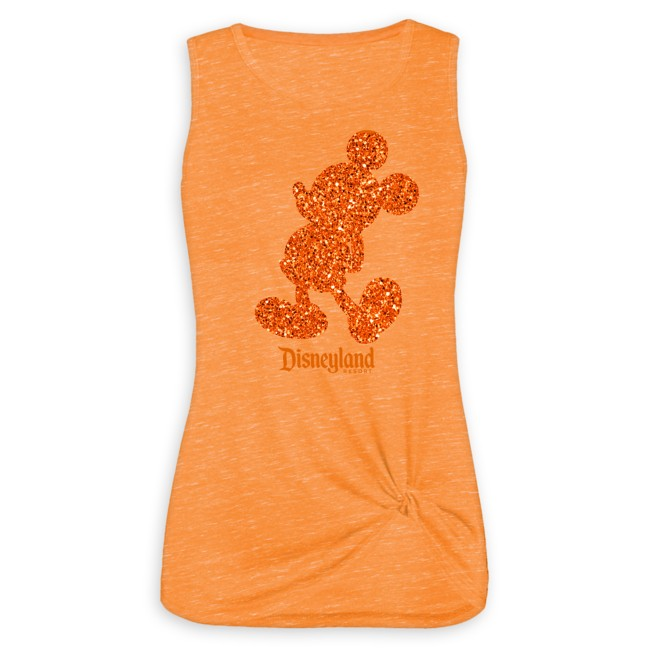 Mickey Mouse Glitter Tank Top for Women – Disneyland – Orange