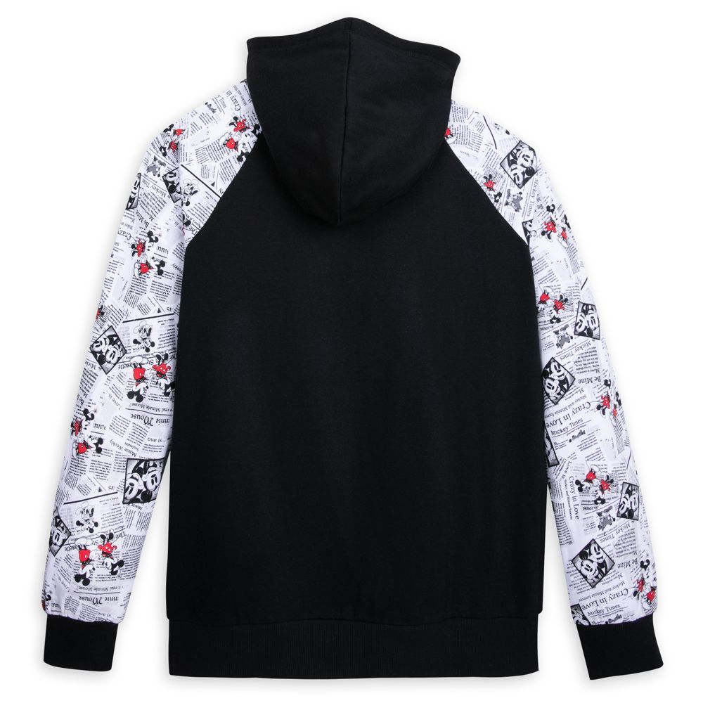Mickey and Minnie Mouse Newsprint Pullover Hoodie for Adults