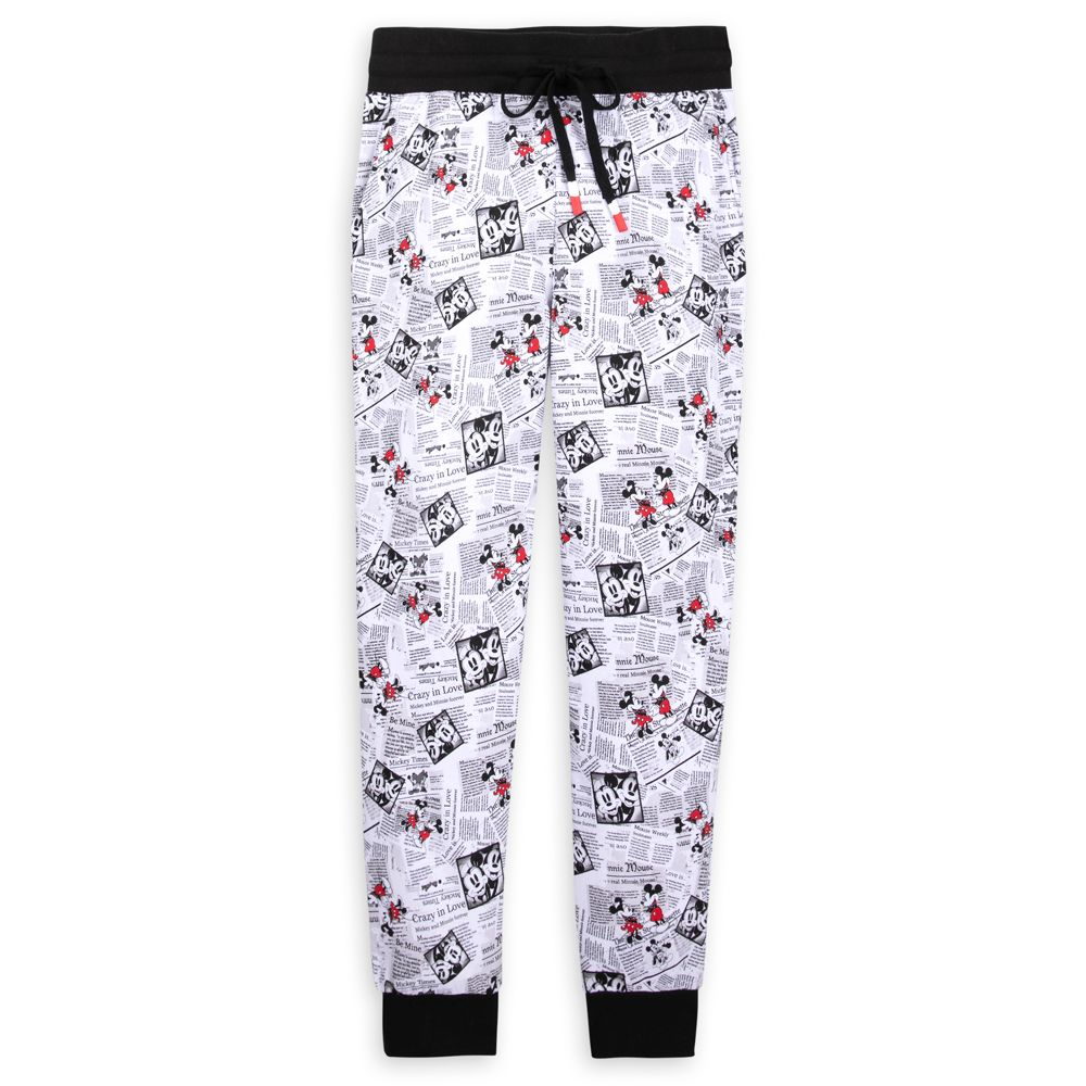 Mickey and Minnie Mouse Newsprint Lounge Pants for Adults – Disneyland