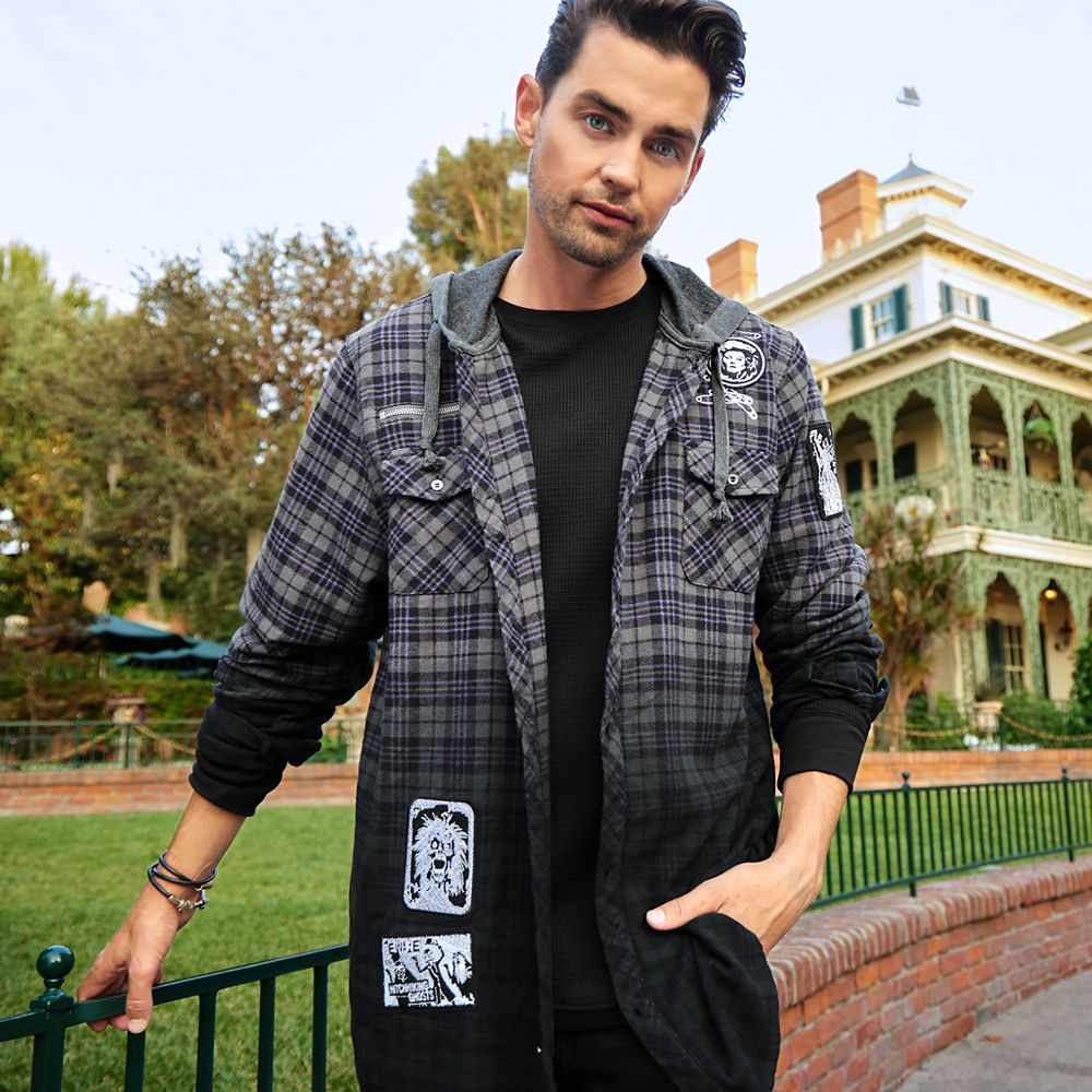 The Haunted Mansion Plaid Woven Hooded Shirt for Adults
