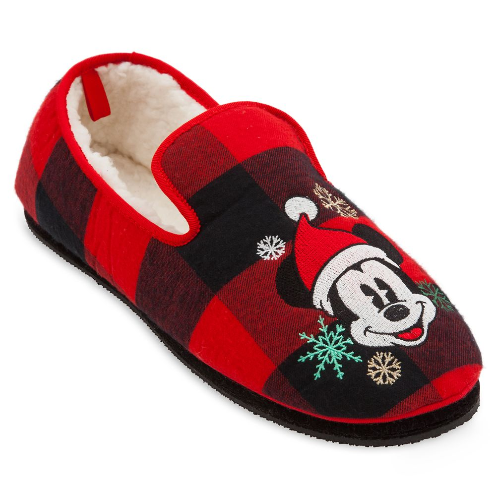 Mickey Mouse Plaid Holiday Slippers for Adults