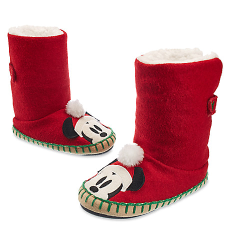 Santa Mickey Mouse Deluxe Slippers for Kids