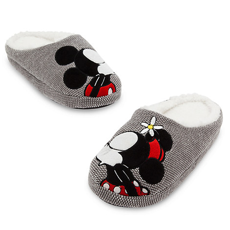 Mickey and Minnie Mouse Plush Slippers for Adults