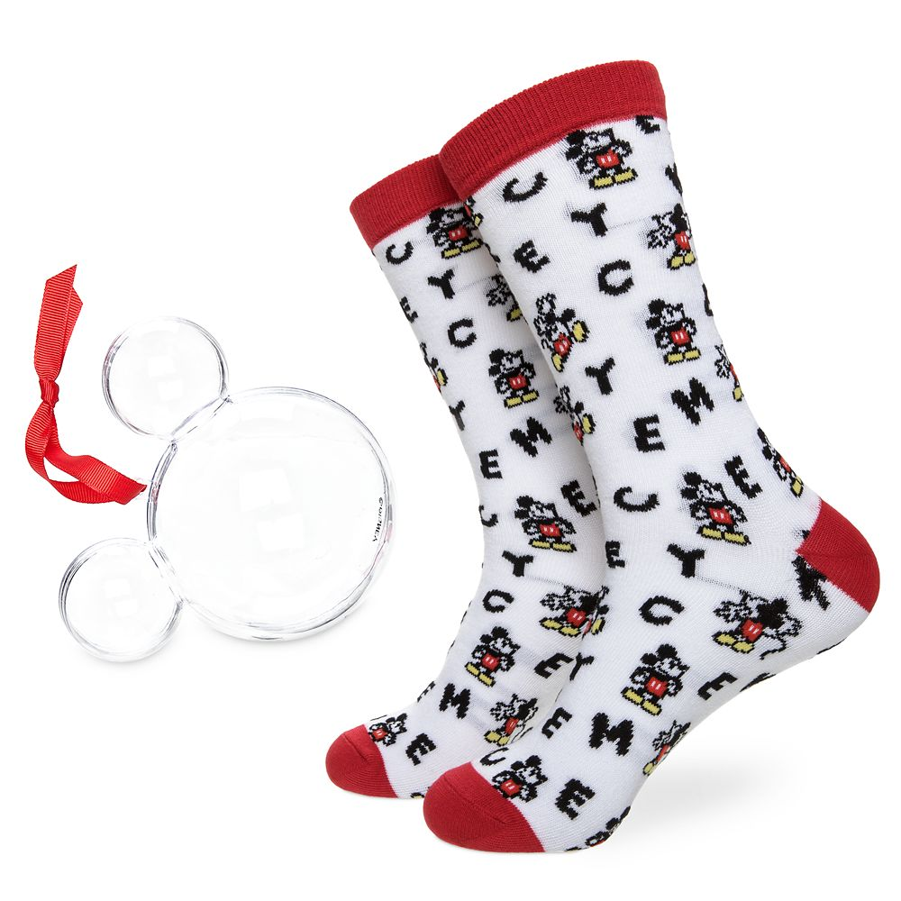 Mickey Mouse Lettering Socks in Ornament for Adults