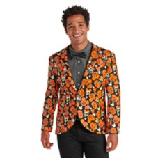 Mickey Mouse Pumpkin Glow-in-the-Dark Half Suit and Light-Up Tie Costume for Adults