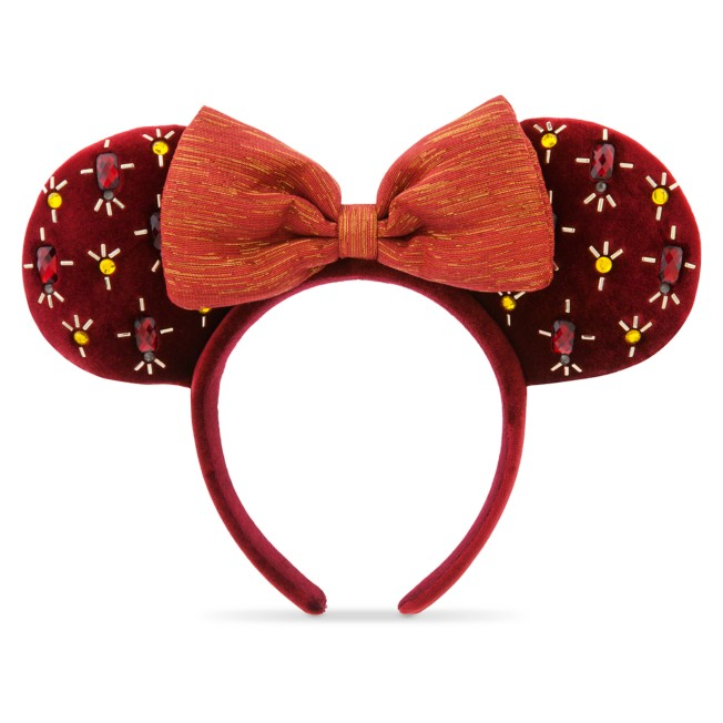 Minnie Mouse Holiday Ear Headband with Bow – Cranberry Red