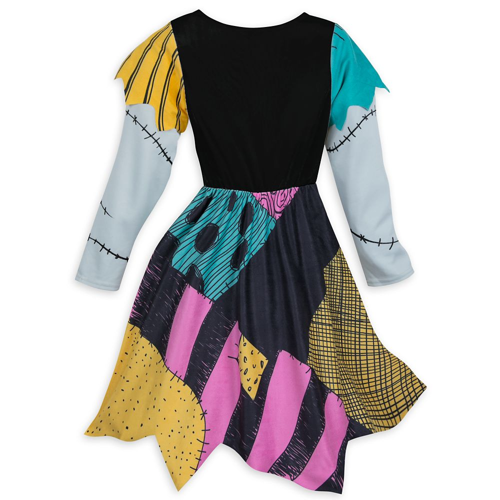 Patch V neck Sally Cosplay Nightmare Before Christmas Women Open Shoulder Dress