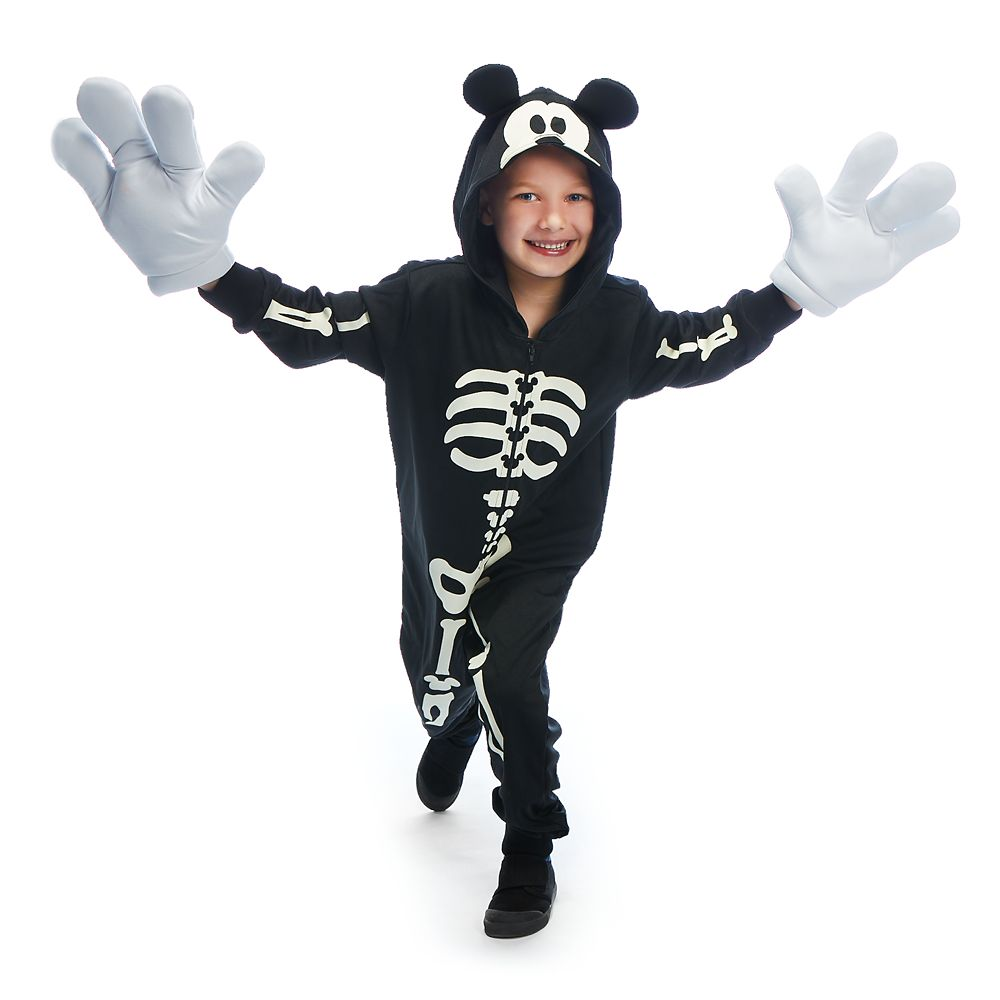 Mickey Mouse Glow-in-the-Dark Skeleton Costume for Kids