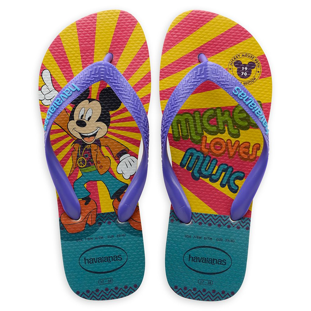 Mickey Mouse Disco Flip Flops for Adults by Havaianas  1970s Official shopDisney