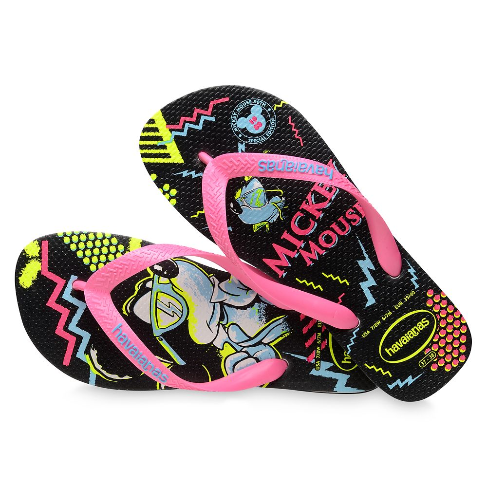 Mickey Mouse Neon Flip Flops for Adults by Havaianas – 1980s
