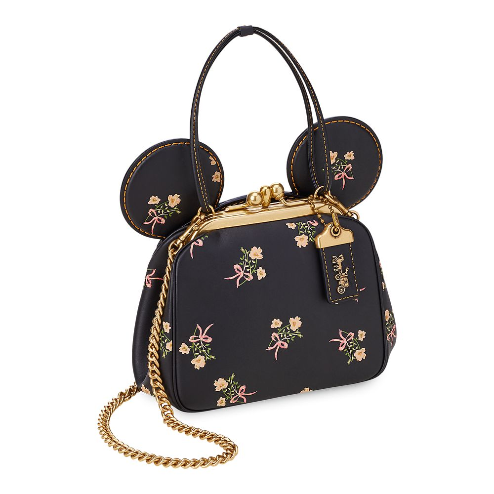 Minnie Mouse Floral Kisslock Leather Bag by COACH – Black