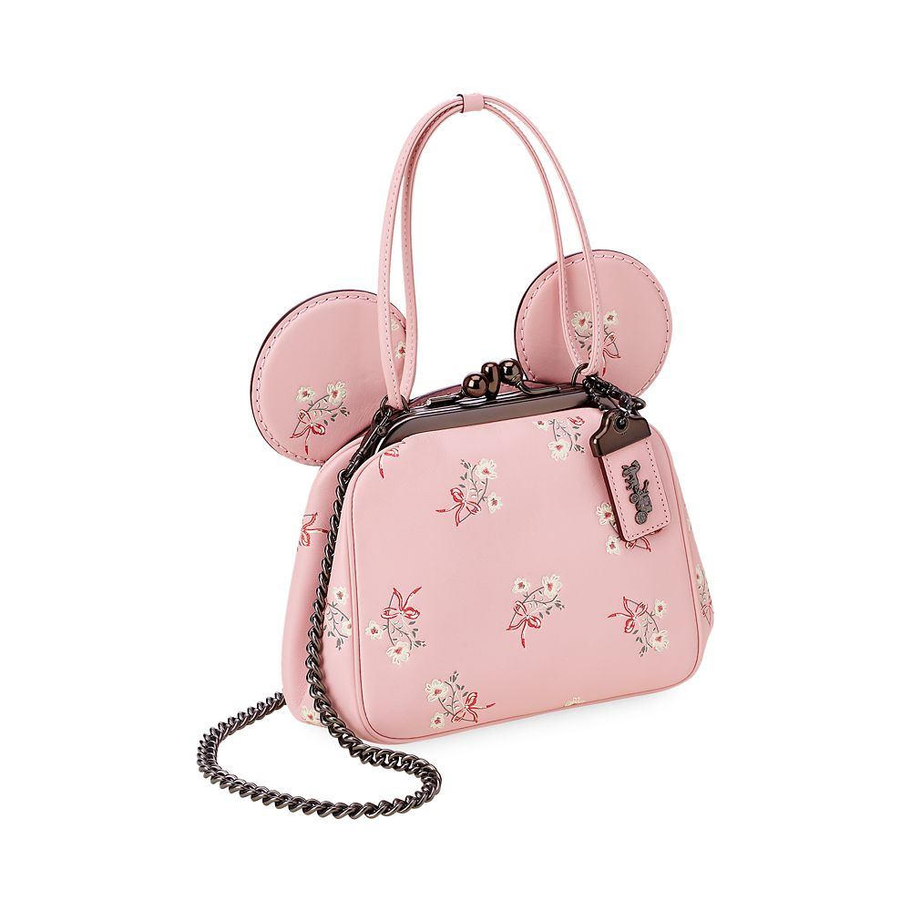 Minnie Mouse Floral Kisslock Leather Bag by COACH – Pink