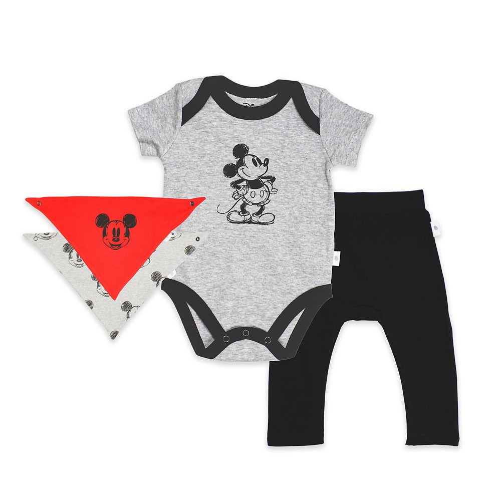 Mickey Mouse Bodysuit, Pants, and Kerchief Set for Baby by finn + emma
