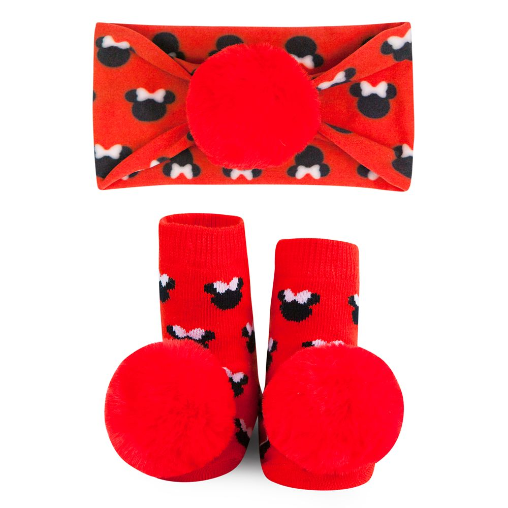 Minnie Mouse Socks and Headband Gift Set for Baby by Waddle – Red