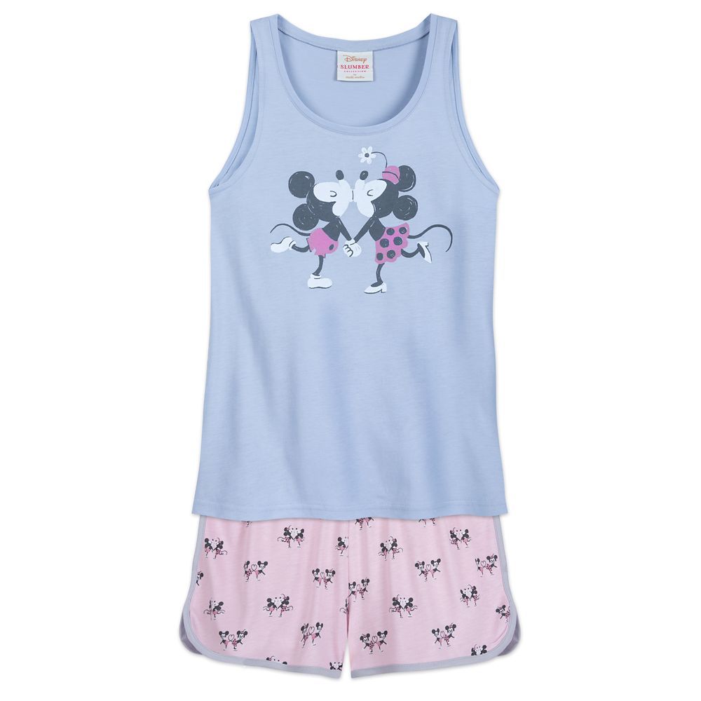 Disney Classic Minnie Womens Pajama T Shirt Top Pink Black White