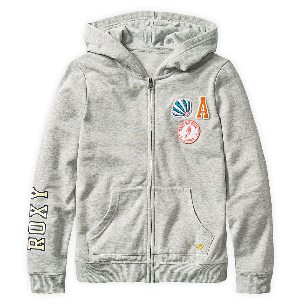 The Little Mermaid Zip Hoodie for Girls by ROXY Girl – Gray