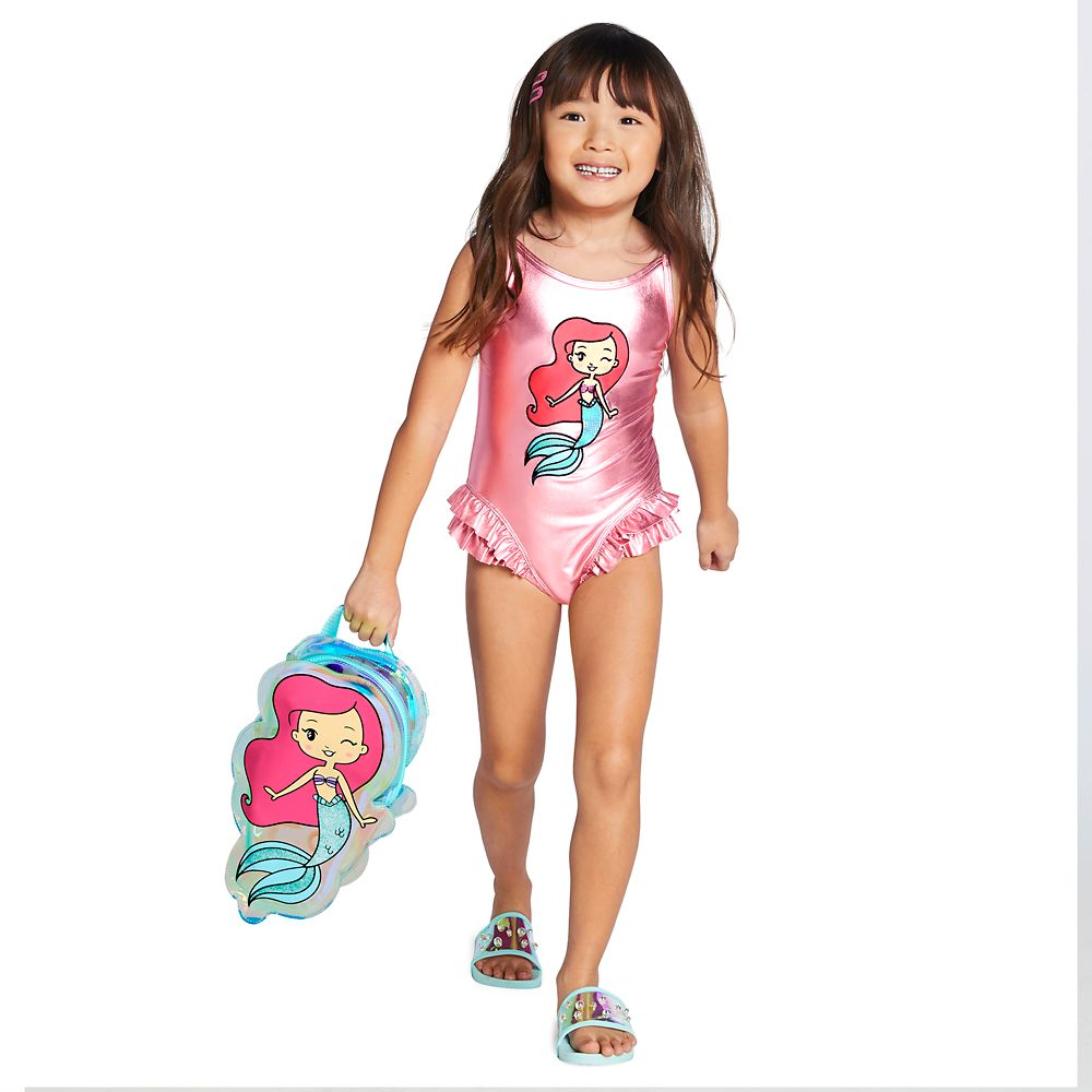 DISNEY STORE SOFIA GIRLS 2-PC SWIMSUIT NWT SHIMMERING FABRIC ALLOVER SHELL PRINT