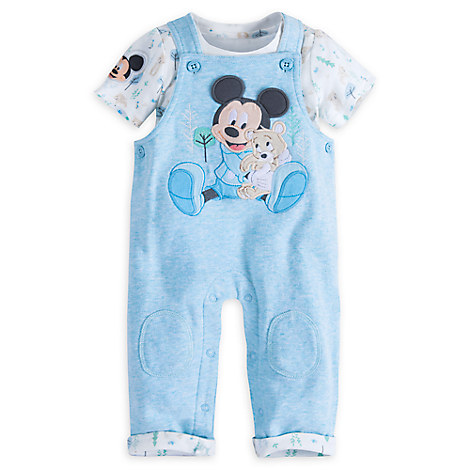 Mickey Mouse Layette Knit Dungaree Set for Baby