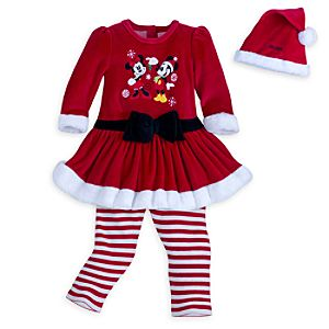 Mickey and Minnie Mouse Mrs. Clause Dress Set with Hat for Girls - Personalizable